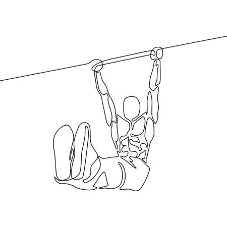 수평 막대에 매달려 있는 연속 라인 운동 선수는 발로 모서리를 잡고 있습니다.