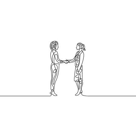 Continuous one line businesswomans handshaking. Agreement concept