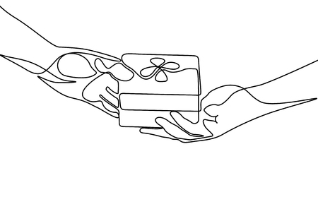 Continuous line give a gift. Vector illustration. Illustration