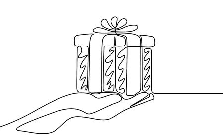 Il disegno a tratteggio continuo fa un regalo. Illustrazione vettoriale.