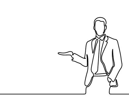 Continu lijntekening zakenman vertelt en toont iets, copyspace. Vector illustratie.