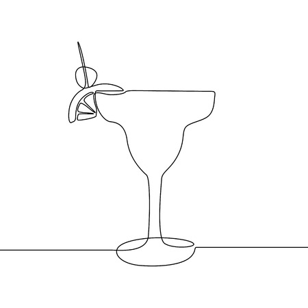 Glass with cocktail continuous line vector illustration.