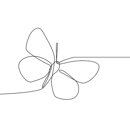 Continuous line butterfly isolated on white background. Butterfly vector illustration. Stock Illustratie