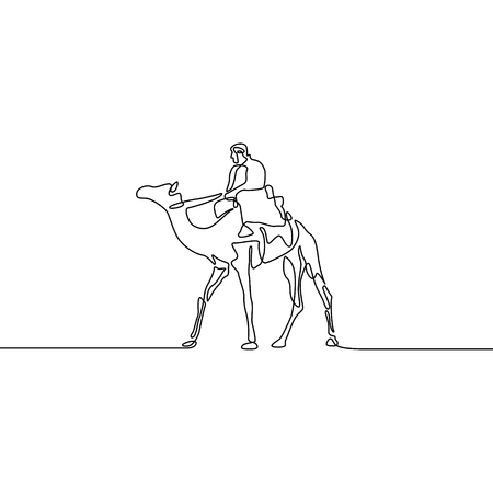 Continuous line drawing Rider Camel. Vector illustration.