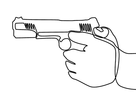 Continuous line hand holding the gun. Vector. Illustration