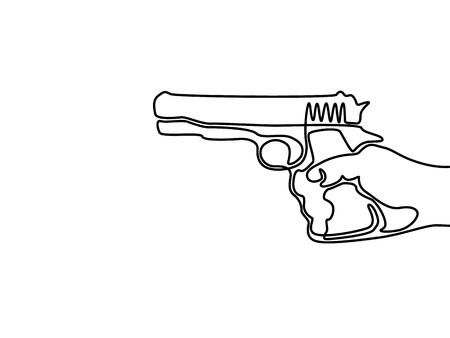 One line drawing hand holding the pistol. Vector illustration