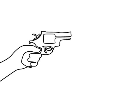Continuous line drawin hand holds a revolver.  Vector.