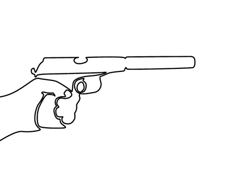 Continuous line drawing Hand holding gun with silencer.