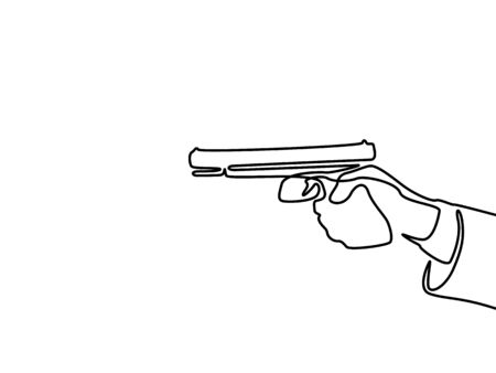 Continuous one line hand holding the pistol. Vector illustration
