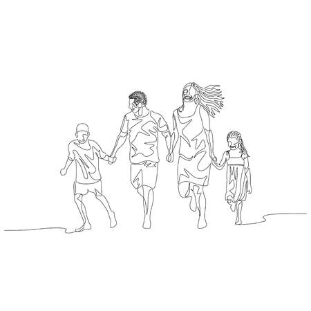 Continuous one line happy family walking holding the hands