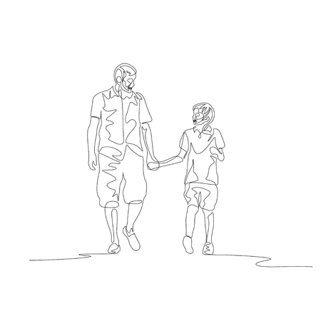 One line father and son walking and chating holding the hands Illustration