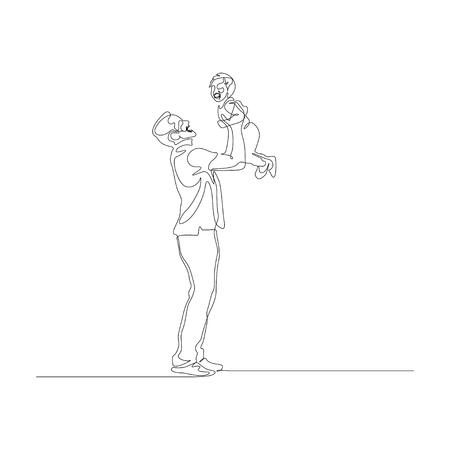 Kontinuierlicher einzeiliger Vater hält seinen kleinen Sohn auf den Händen über dem Kopf