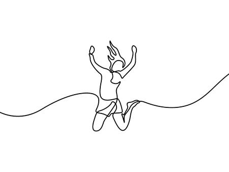 Dibujo de línea continua Mujer salta de felicidad. Ilustración de vector.