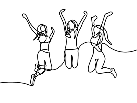 Continuous line drawing Group of girls jumping. Vector illustration. Stock Illustratie
