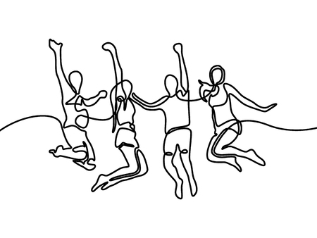 Kontinuierliche Strichzeichnung Gruppe von Jungen und Mädchen, die glücklich springen. Vektor-Illustration.