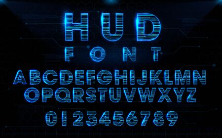 Futuristic HUD blue vector font design. English letters and numbers with hologram effect. Digital hi-tech style symbols. Typography design for headlines, labels, posters, cover, etc. 向量圖像