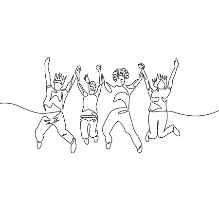Continuous one line drawing jumping diversity group Vetores