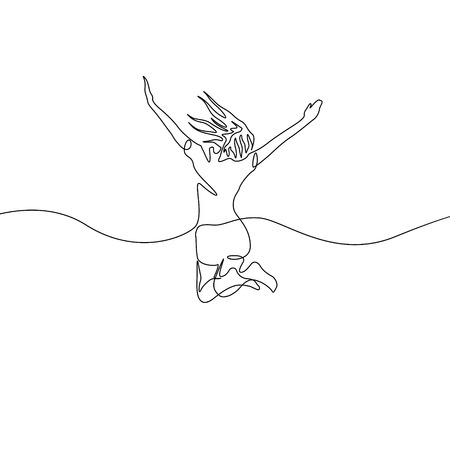 Continuous one line drawing jumping girl
