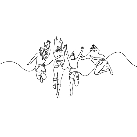 Continuous one line drawing group jumping friends  イラスト・ベクター素材