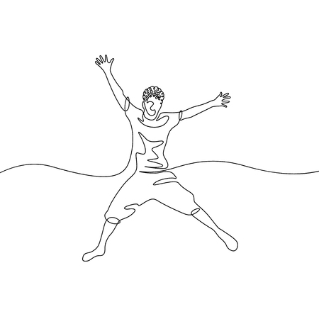 Continuous one line drawing jumping boy  イラスト・ベクター素材