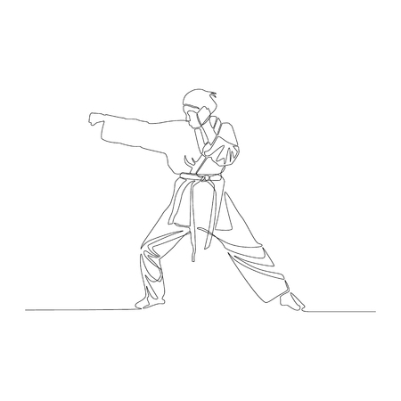 Continuous line drawing Karate girl makes a punch. Vector illustration.