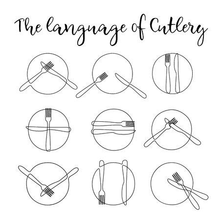 Piatto a una linea continua con forchetta e coltello. Segni Posate. Etichetta a tavola. Il linguaggio delle posate. Attività di ristorazione. Elementi di design per il menu. Illustrazione vettoriale.