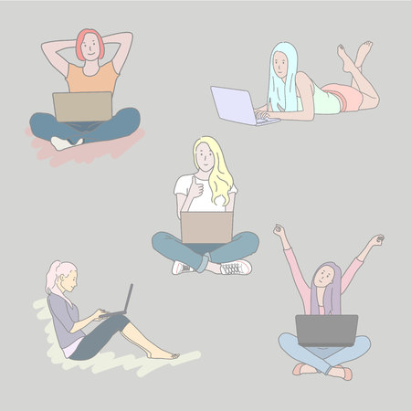 Set of Girls with laptop in different poses. Hand drawn style vector doodle design