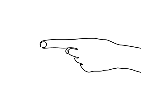 Continuous one line Hand Point to Left, Left sign. Vector illustration Illustration