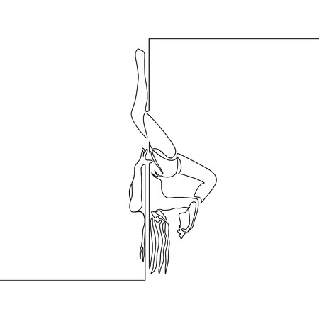 Continuous one line drawing pole dance woman Ilustrace