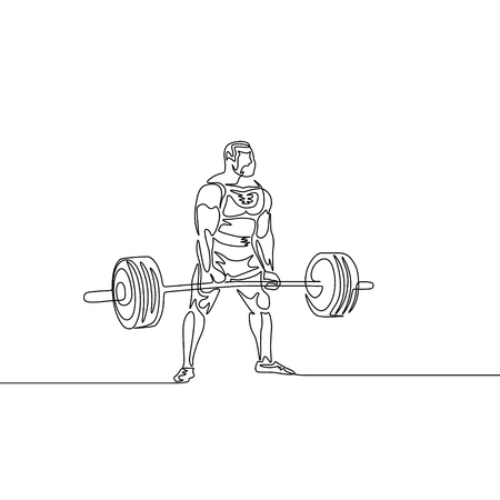 Continuous one line drawing athlete perform deadlift. Powerlifting, sport theme.