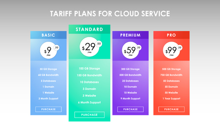 Colorful four tariffs for cloud service, interface for the site