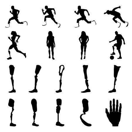 Silhouettes of amputee people with artificial limb. Silhouettes of prosthetic legs and arms. Vector. Illustration