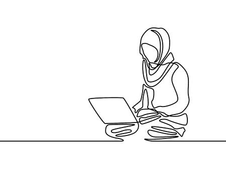 Mujer musulmana de línea continua aprendiendo o con cuaderno de ayuda. Ilustración de vector.