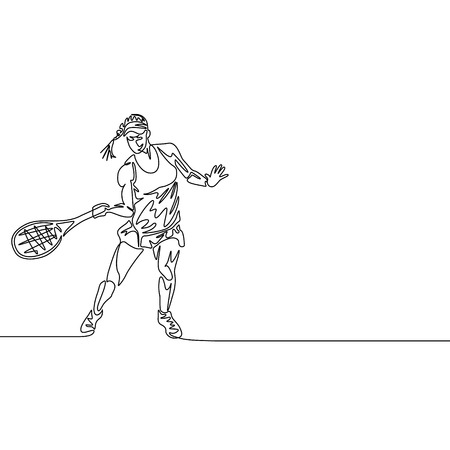 Continuous one line drawing woman tennis player going to hit the ball