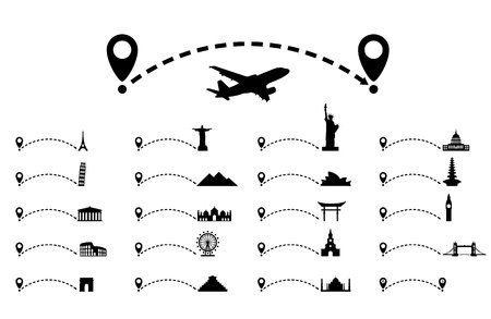 Dotted line path with map pointer, cultural attraction. Travel concept