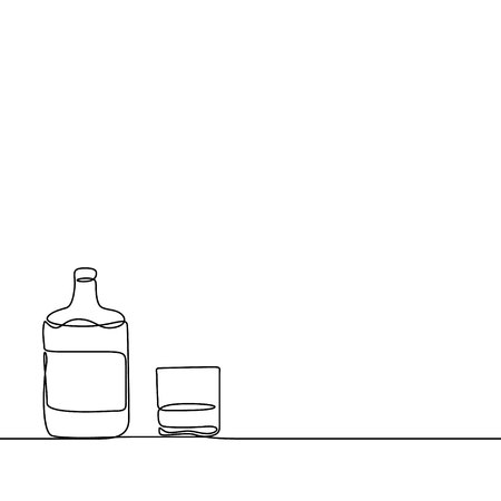 Continuous line Whiskey and a glass. Vector illustration.