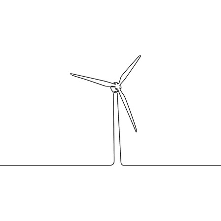 Continuous line wind turbine. Vector illustration.