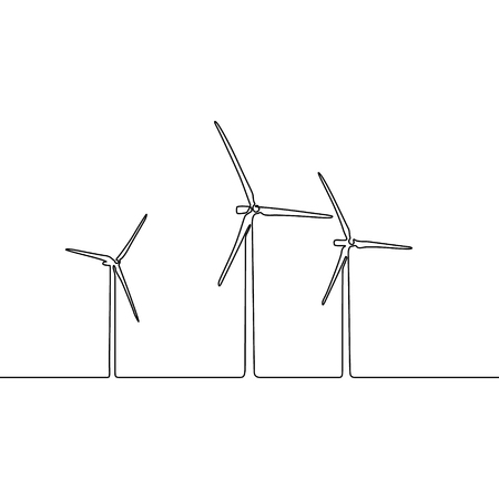 Continuous line wind farm. Wind turbines. Horizontal axis wind power plant. Vector illustration.