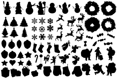 Set of winter and christmas silhouettes. Christmas collection. Clip art for banner, flyer, business, card, poster. Vector.
