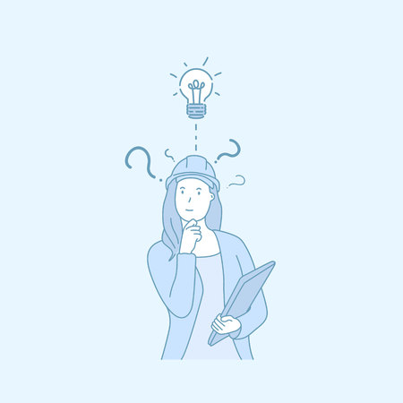 A woman engineer have a good idea; hand drawn style vector doodle design illustrations