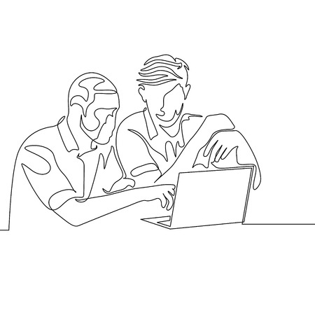 Continuous one line drawing two mans work together with help laptop