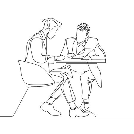Kontinuierliche einzeilige Zeichnung zweier Geschäftsmann, die die Arbeit mit Dokumenten besprechen