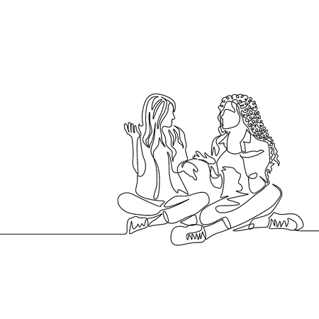 Continuous one line drawing two womans sitting cross-legged and talking