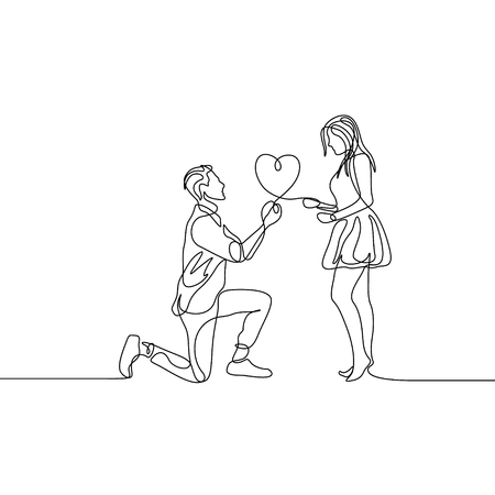 Continuous one line man makes a marriage proposal to a woman Illustration