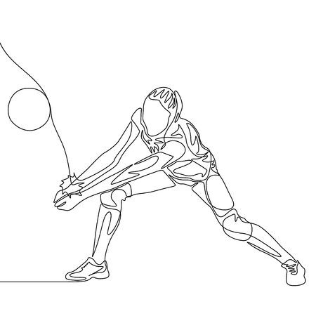 Continuous one line volleyball player woman hit the ball