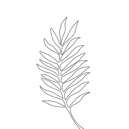 Eine Linie, die Areca-Blatt zeichnet. Kontinuierliche Linie exotische tropische Pflanze.