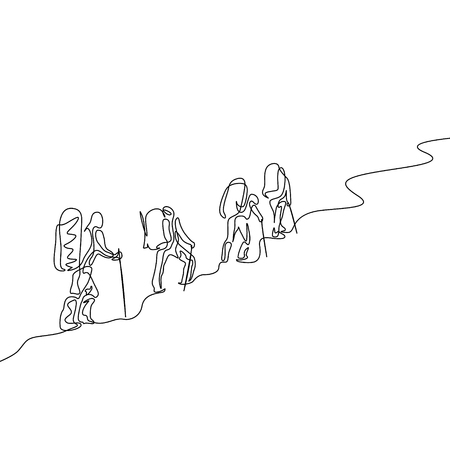 Continuous one line drawing group of four travelers hiking in the mountains Ilustração