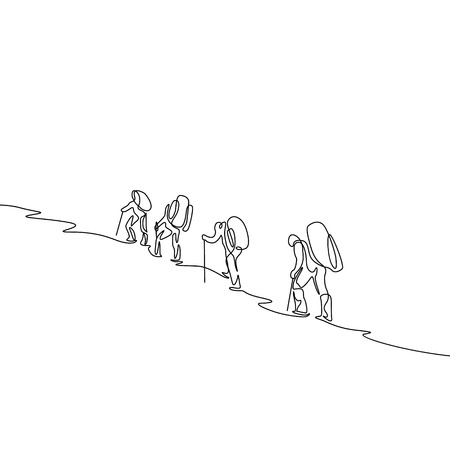 Continuous one line drawing group of four travelers hiking in the mountains Stock Illustratie