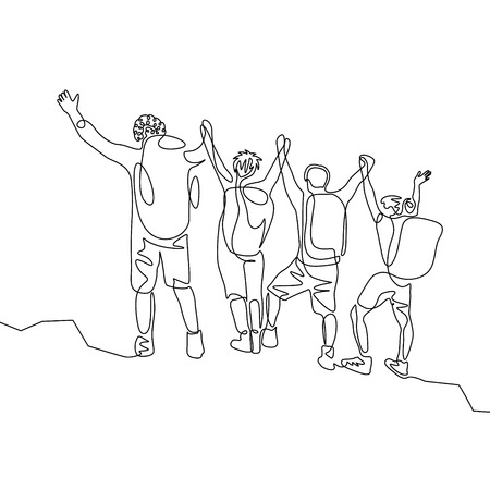 Continuous one line drawing group of travelers with hikings backpacks reach the goal. Teamwork concept