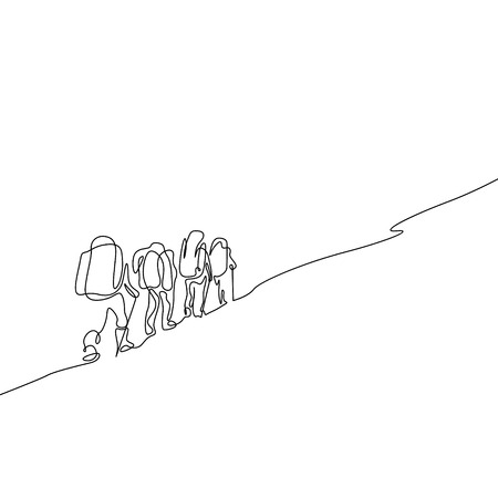 Continuous one line drawing group of four people hiking Иллюстрация